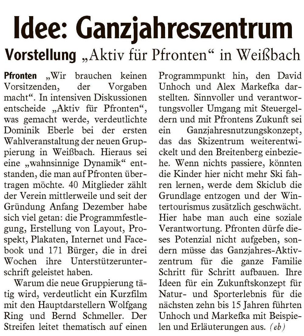 AZ Füssen - Idee Ganzjahreszentrum