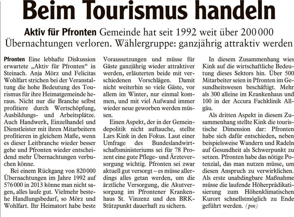 AZ Füssen - Beim Tourismus handeln